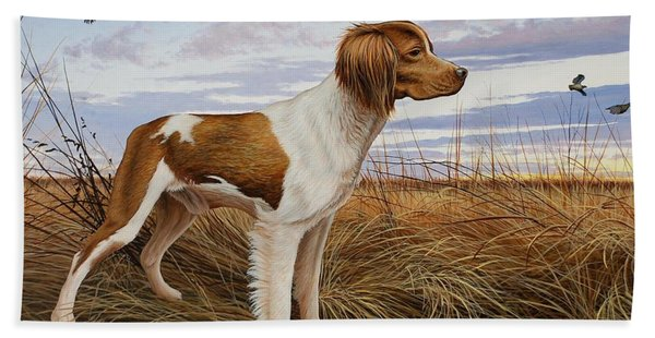 On Watch - Brittany Spaniel Beach Towel