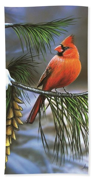 On Watch - Cardinal Beach Towel