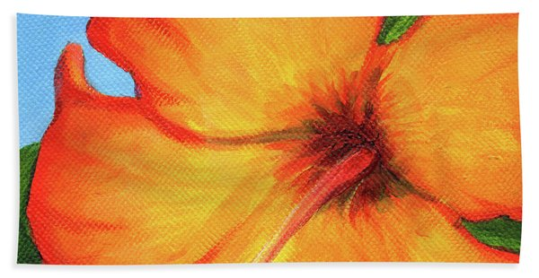 Orange Hibiscus Flower Beach Towel