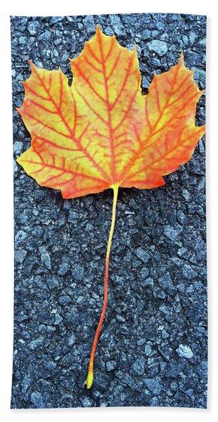 Orange Maple Leaf Beach Towel