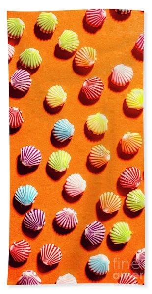 Orange Seashell Scatter Beach Towel