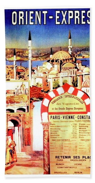 Orient Express, Istanbul, Vintage Travel Poster Beach Towel