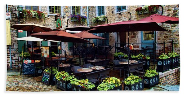 Outdoor French Cafe In Old Quebec City Beach Towel