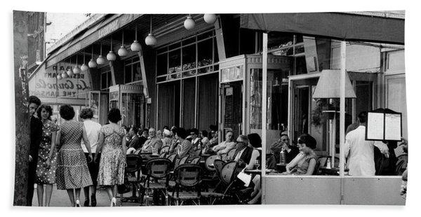 Outside Restaurant La Coupole In Montparnasse, Paris, 1959  Beach Towel