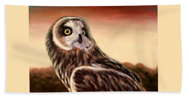 Owl At Sunset Beach Towel