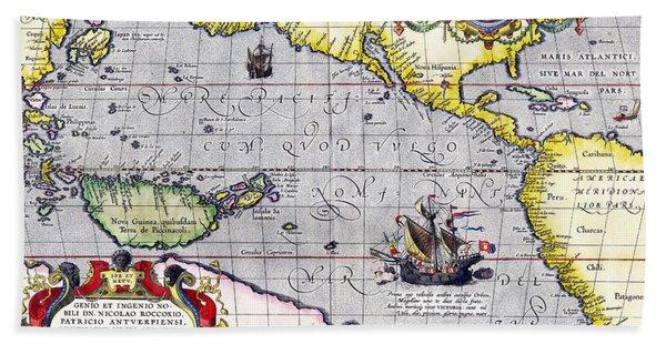 Pacific Ocean Vintage Map Beach Towel