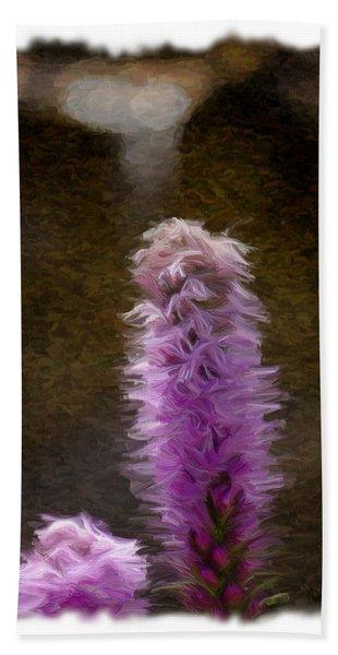 Painted Purple Flower Beach Towel