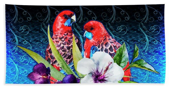 Paired Parrots Beach Towel
