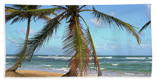 Palms And Sand Beach Towel