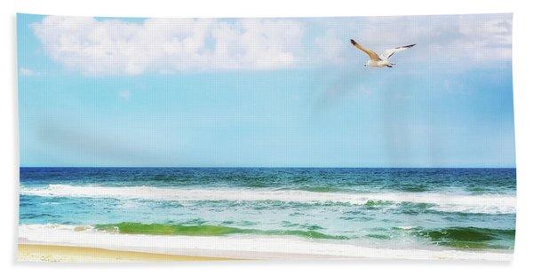 Peaceful Beach With Seagull Soaring Beach Towel