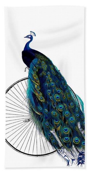 Peacock On A Bicycle, Home Decor Beach Towel