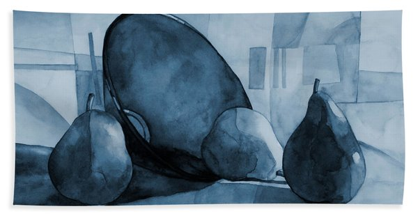 Pears And Blue Bowl On Blue Beach Towel