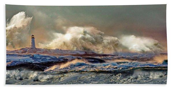 Peggy's Cove Winter Storm - Nova Scotia Beach Towel