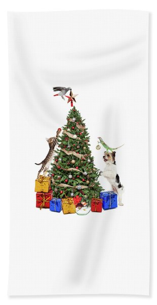 Pets Decorating Christmas Tree Beach Towel