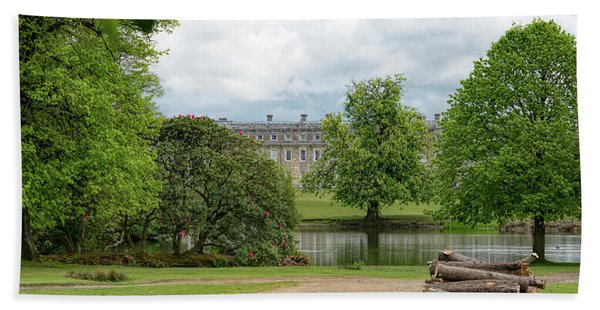 Beach Towel featuring the photograph Petworth House On Lake by Michael Hope