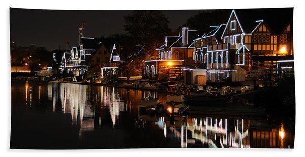 Philadelphia Boathouse Row At Night Beach Towel