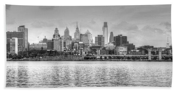 Philadelphia Skyline In Black And White Beach Towel