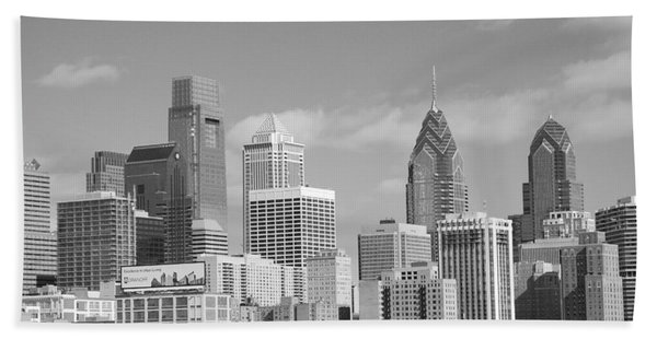 Philly Skyscrapers Black And White Beach Towel
