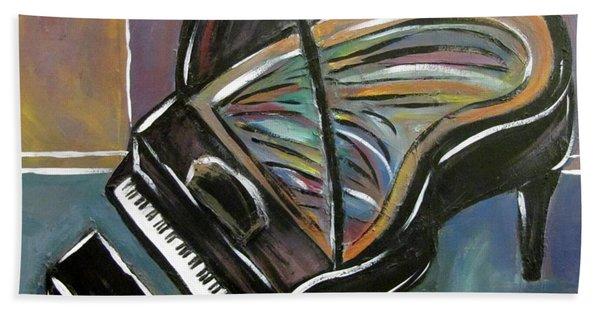 Piano With High Heel Beach Towel