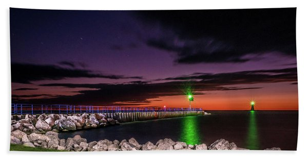 Pier And Lighthouse Beach Towel