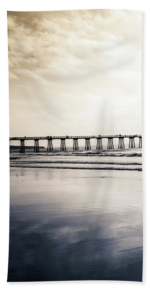 Beach Towel featuring the photograph Pier On Duotone by Michael Hope
