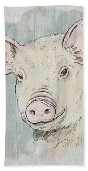 Pig Portrait-farm Animals Beach Sheet