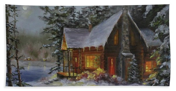 Beach Towel featuring the painting Pine Cove Cabin by Judy Bradley