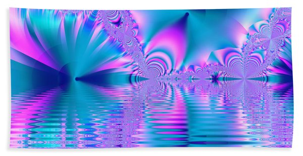 Pink, Blue And Turquoise Fractal Lake Beach Towel