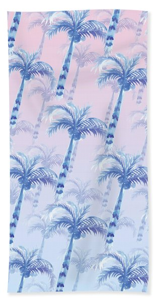 Pink Blue Palm Tree Grove Beach Sheet