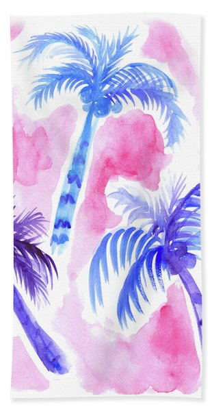 Pink Palm Trees Beach Sheet