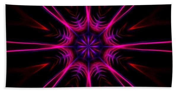 Pink Starburst Fractal  Beach Towel