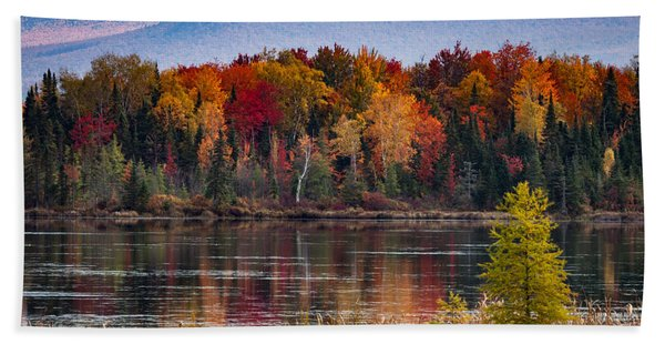 Beach Towel featuring the photograph Pondicherry Fall Foliage Reflection by Jeff Folger