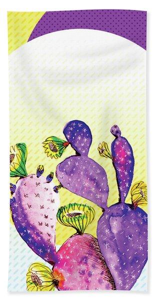 Pop Cacti - Purple Yellow Beach Towel