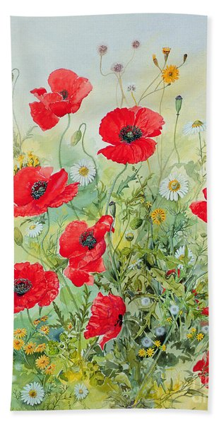Poppies And Mayweed Beach Towel