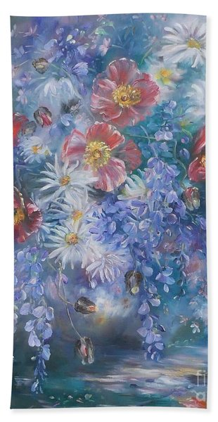 Poppies, Wisteria And Marguerites Beach Towel