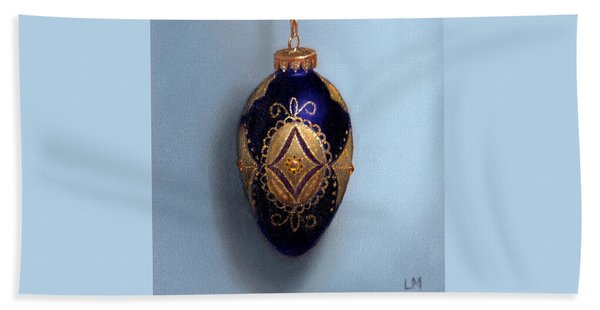 Purple Filigree Egg Ornament Beach Sheet