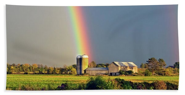 Rainbow Over Barn Silo Beach Towel