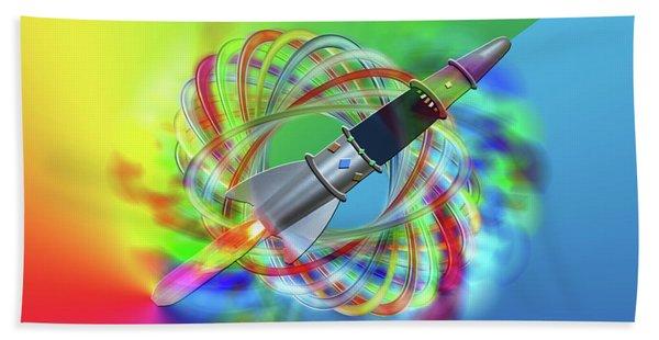 Rainbow Rocket Orbits Beach Towel