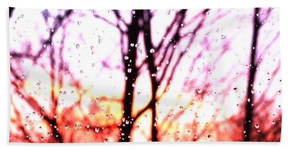 Raindrop Sunset Photograph Beach Towel