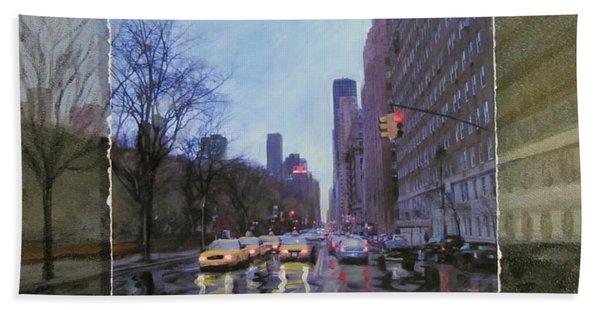 Rainy City Street Layered Beach Towel