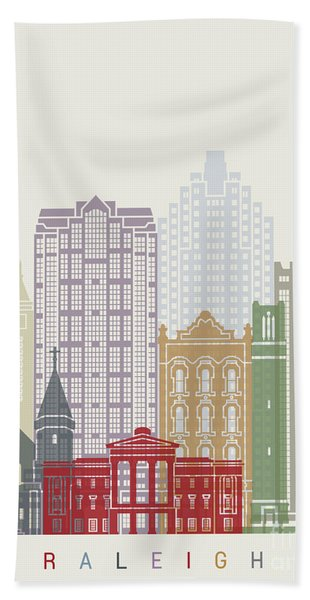 Raleigh V2 Skyline Poster Beach Towel