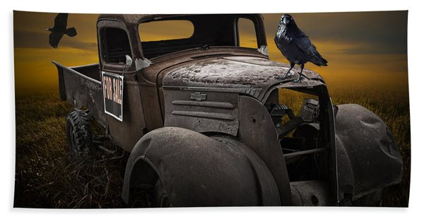 Raven Hood Ornament On Old Vintage Chevy Pickup Truck Beach Sheet