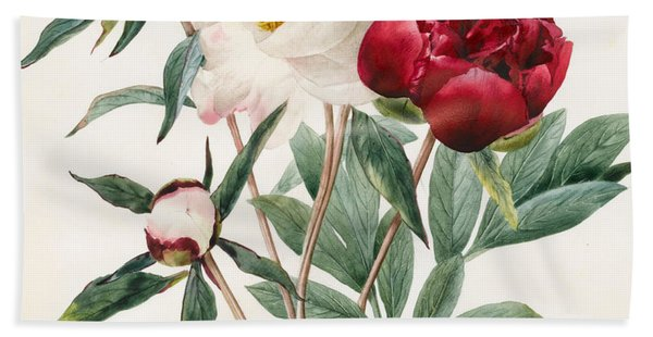 Red And White Herbaceous Peonies Beach Towel