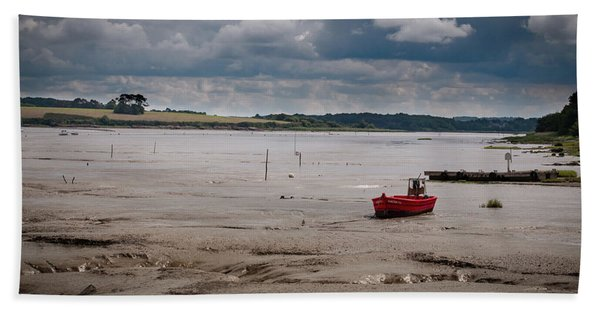 Red Boat On The Mud Beach Towel