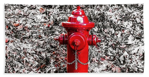 Red Fire Hydrant Beach Sheet