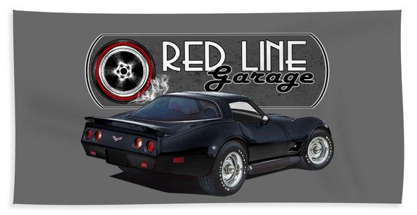 Red Line Garage Corvettes Beach Towel