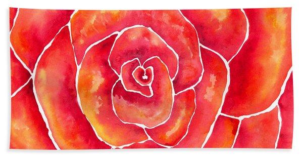 Red-orange Rose Macro Beach Sheet