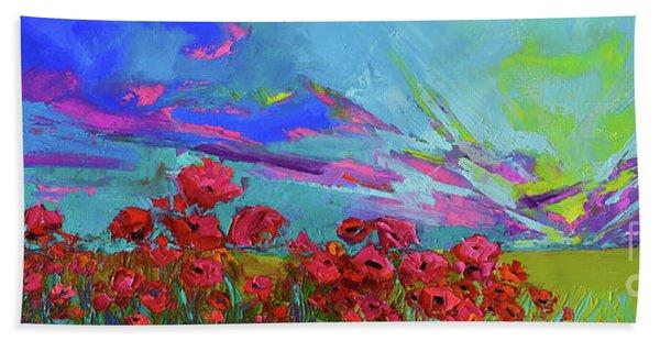 Red Poppy Flower Field, Impressionist Floral, Palette Knife Artwork Beach Sheet