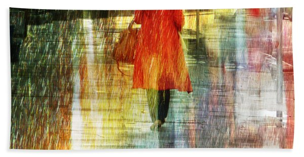 Red Rain Day Beach Towel