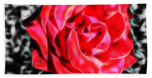Red Rose Fractal Beach Towel